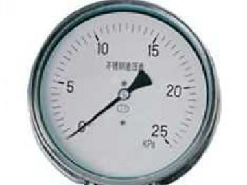 不锈钢差压表结构全部采用不锈钢制成,其中的测量系统(双波纹管及连接